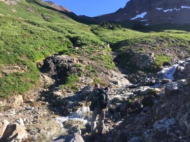 Dan crossing a Cispus River outlet