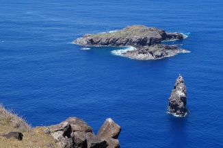 The islet of Motu Nui, target of annual Birdman race