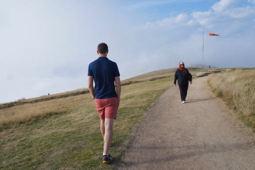 Not adequately dressed for a mountain-top stroll!