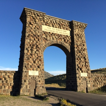 Roosevelt's stone arch marking the North Entrance in Gardiner
