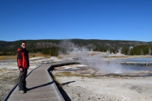 Walking the short trail around Fountain Paint Pots and Great Fountain Geyser